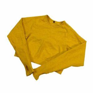 Womens Alphalete Revival Crop Top Yellow Size Medium Gym Workout