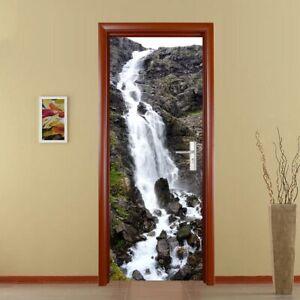 3D Door Sticker Wall Decals Mural Wallpaper Self-adhesive Waterfall Home Decor
