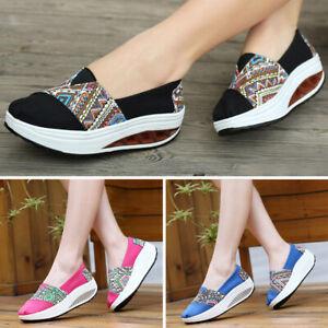 Women Running Walking Fitness Toning Shoes Platform Wedge Sneakers Creeper Shoes