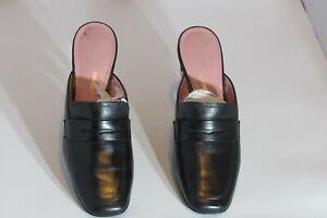 Rockport Women Black Leather Penny Loafer Heel Mules Size 9
