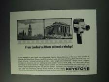 1963 Keystone Electric Movie Camera Ad - From London to Athens without a windup