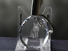 Somali Cat, Cat Crystal Round Keyring, High Quality, Crystal Animals Ca