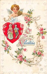 H66/ Valentine's Day Love Holiday Postcard c1910 Cupid Fancy Flowers 21