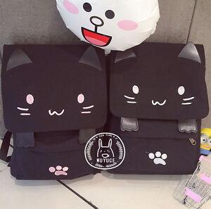 Cute Cat Embroidery Schoolbag Girls' Backpack Bookbag Cartoon School Bag New