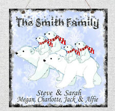 Personalised Family Tree Polar Bear Christmas Sign Plaque Xmas Gift Present