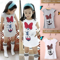 Cute Kids Baby Girls Minnie Mouse Party Dress Vest Skirt Toddler Clothes 3-8Year