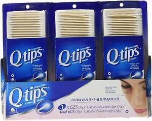 Q Tips Cotton Swabs, 1875ct, (3 x 625 packs) (Imported from Canada)