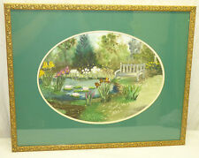 Original Watercolor Painting Oval Garden Landscape Floral Waterlilies Gold Frame