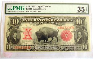 1901 $10 BUFFALO UNITED STATES US LEGAL TENDER NOTE PMG VF35 FR# 114