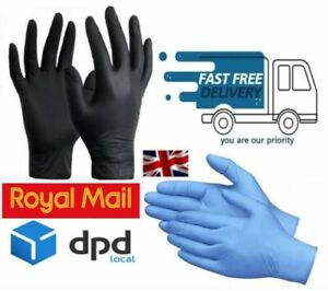 DISPOSABLE NITRILE GLOVES BLUE AND BLACK 100 % POWDER FREE LATEX FREE S M L XL