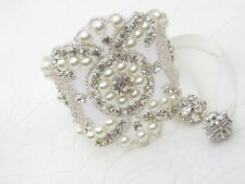 Luxury vintage style crystal and pearl bracelet/cuff, bride cuff, ivory pearl UK