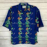 Reservoir Hawaiian Shirt Mens XL Blue Floral Short Sleeve Button Collared