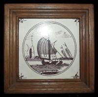 joli carreau ancien de cheminée - bateau