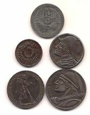 Five  1917 to 1919 Germany Duren Notgeld Coins-- Very Strong Details
