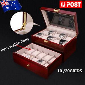 10/20 Glass Wooden Watch Jewelry Display Case Collection Storage Holder Box AU
