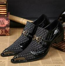 Mens Leather Metal Party Wedding Men Slip On Pointed Toe Dress Formal Shoes @@