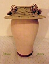 WOW !!!!   MUST SEE...Unique Sage Green TILT Hat w/ 2 AMAZING Hat Pins sz 22 1/2