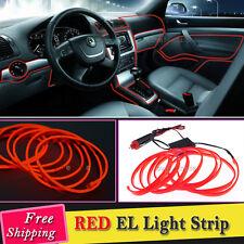 2M RED EL Wire Car Interior Decor Fluorescent Neon Cold Strip light Fit Audi