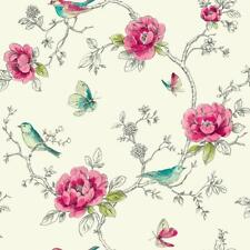 Arthouse Opera Red Teal Floral Wallpaper Cream Metallic Shimmer Birds Butterfly