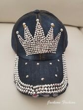 Vintage Crown Bling Studded Distressed Dark Blue Jean Denim Baseball Hat Cap