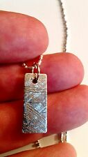 Beveled Monionalusta Meteorite Pendant Necklace With Sterling Silver Chain
