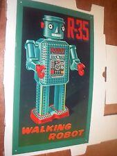 ROCKET USA R-35 WALKING ROBOT METAL SIGN GEORGE J ESNER ART 1998
