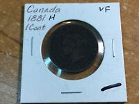 1881-H Canada One Cent Coin-VF-Ships FREE-10172-0006