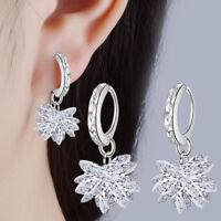 Valentine's Day Women Party 925 Sterling Silver Zircon Ice Flower Hoop Earrings