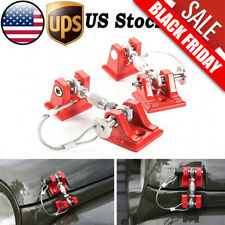 For 2007-2018 Jeep Wrangler JK Unlimited Red Hood Latch Locking Catch Buckle Kit