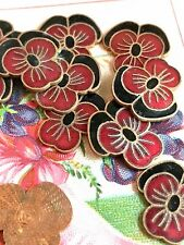 Enameled Pansy Findings,Vintage Pansies,Enamel Cabochons,19x6mm cabochons #G18E