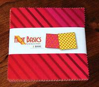 "Benartex - Hot Basics Mixed Pink Yellow Orange - (42) 5""  Precut Fabric Squares"