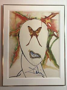 1973 Vintage Lithograph On Paper By Salvador Dali Titled Kabuki Dancer.
