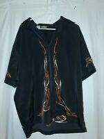 Mens harley davidson collared Shirt Button up Flame Print Size L