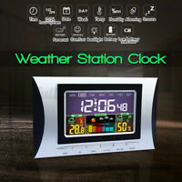 New LED Digital Alarm Clock Snooze Calendar Thermometer Weather Color Display