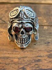 Skull Aviator Helmet Ruby Eyes Men's Ring Sterling Silver 11 Biker Jewelry 925