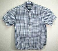 Tommy Bahama Jeans Mens Blue Plaid Hawaiian Short Sleeve Shirt Size XL EUC