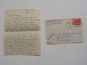 WWII Letter 1944 France Germans Scared Dive Bombing Harold Smith WW II War WW2