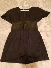 Bebe Black Satin & Leather Kimono Romper XS
