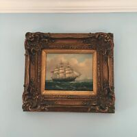 "Vintage Robert Sanders Artist Signed Maritime Ship Oil Painting 17 1/2"" W x 16"""