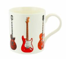RETRO VINTAGE GUITARS FENDER GIBSON FINE CHINA COFFEE MUG NEW IN GIFT BOX