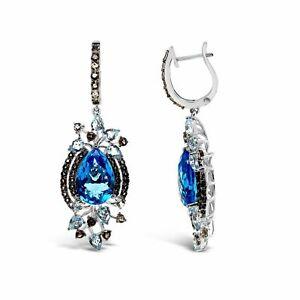 Le Vian® Earrings - Chocolate Quartz®, Blue/Vanilla Topaz™ - 14K Vanilla Gold®