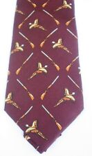 Pheasants  & Shotguns Burgandy / Dark Red Wine  Silk Tie Shooting Gift NEW