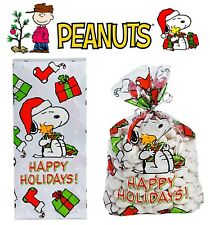 Set of 12 Peanuts Christmas Holiday Cellophane Treat Bags ft. Snoopy & Woodstock