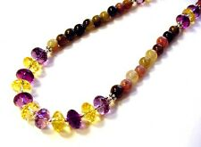 Beautiful 925 Sterling Silver 140cttw Amethyst Citrine & Tourmaline Necklace F78