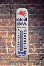 MOBIL OIL METAL WALL THERMOMETER RETRO  VINTAGE MAN CAVE OUTDOOR INDOOR WALL