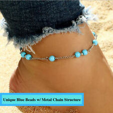 Cool Fashioned Turquoise Ball Blue Aqua Beads Charm Silver Chain Anklet Bracelet