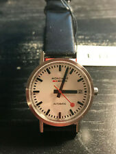 Mondaine Classic Automatic Watch - White - Black Leather strap -