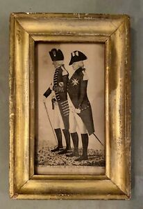 Antique Framed Etching of John Kay Sketch - Charles X and Lord Adam Gordon 1796