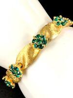 CROWN TRIFARI GOLD-TONE EMERALD GREEN RHINESTONE MAY BIRTHDAY RIBBON BRACELET