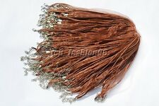 wholesale 20pcs Brown Organza Ribbon Necklace Silk Cord Clasp 450mm FREE